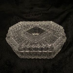VINTAGE Pressed Glass Candy Trinket Dish With Lid